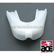 Double mouth guard for contact sports. Protects both upper and lower mouth.
