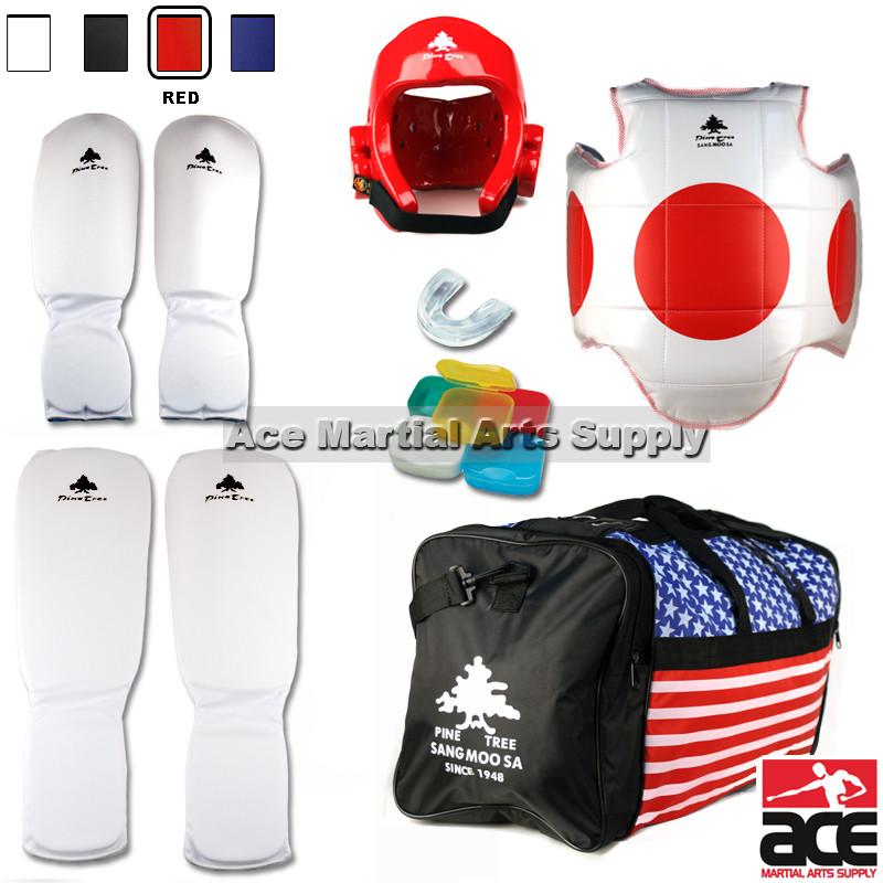 Pine Tree Sang Moo Sa Complete Taekwondo Sparring Gear Set w/ Bag