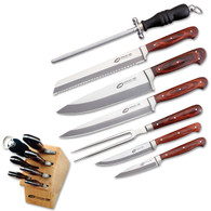 NEW 8 PC PROLINE KITCHEN KNIFE SET Chef Slicing Carving Fillet Bread Wood Block