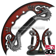 Double Dragon Dual Steel Knives W/ Stand
