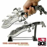 Dragon Claw Fighter Fantasy Dagger - Silver