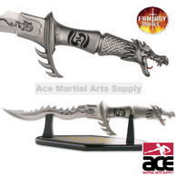 Flaming Dragon Knife W/ Display Stand