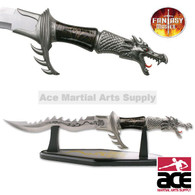 Flaming Dragon Knife With Display Stand