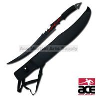 "Full Tang 27"" Tanto Ninja Flame Blade Sword Machete Katana w/ Nylon Sheath"
