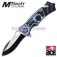 Hand Cuff  Rescue Style MTech Folding Knife - Blue