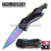 "TAC FORCE TF-705RB 8"" RAINBOW SPRING ASSISTED FOLDING KNIFE"