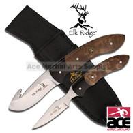 2 Pcs Elk Ridge Hunting Knife Set - Maple Burl Wood Handle