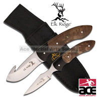 2 Pcs Elk Ridge Hunting Knife Set - Maple Burl Wood Handle