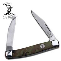 "2.85"" Closed Elk Ridge 2 Bladed Pen Knife - Camo Handle"