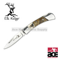 3 Inch Closed Elk Ridge Lock Back Folding Pocket Knife - Stag and Burlwood Handle