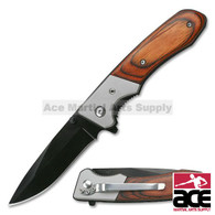 "7"" TAC FORCE SPRING ASSISTED TACTICAL PAKKAWOOD FOLDING KNIFE Blade Pocket Open"