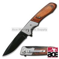 """7"""" TAC FORCE SPRING ASSISTED TACTICAL PAKKAWOOD FOLDING KNIFE Blade Pocket Open"""