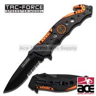 TAC-FORCE Speedster Assisted Opening EMT ORANGE Glass Breaker Rescue Knife! NEW!