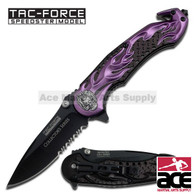 "Tac Force TF-736PE 8.5"" Flaming Skull Spring Assisted Folding Knife"