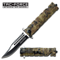 "Tac Force TF-710JC 8.5"" Jungle Camo Double Serrated Spring Assisted Folding Knife"