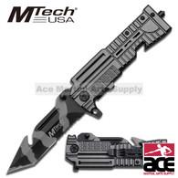 "5"" Closed MTech Grey Rifle Hdl & Urban Camo HS Blade Tanto Rescue Folder Knife"