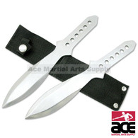 "2 pc Silver Stainless Steel Throwing Knives with Sheath - 10.5"" Overall"