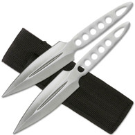 "2pc Silver Stainless Steel Throwing Knives with Sheath - 8.75"" overall"