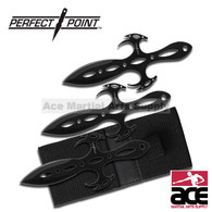 3 Pcs Devil Glares 6 Inch Overall Throwing Knife Set W/ Pouch