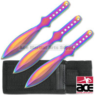 "PERFECT POINT 3 PIECE 6.5"" RAINBOW TITANIUM THROWING KNIVES"