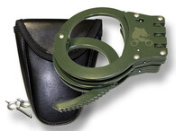 Green Steel Triple Hinged Double Lock Handcuffs Hand Cuffs with Spare Key New