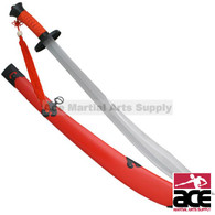 "37"" Red Chinese Carbon Steel Blade Broad Sword With Red Tassels and Scabbard"