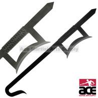 Twin Black Chinese Hook Swords