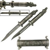 """Fantasy Short Sword. Scroll scabbard w/ hidden dagger. Dragon headed pommels. 20"""" Overall. 2 Hidden Knifes With Damascus Laser Etched Blades"""