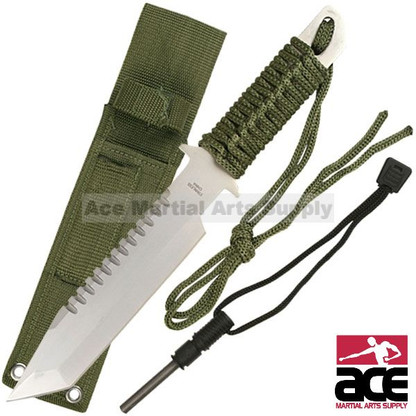 """Stainless steel blade. 11"""" total length. Sawteeth on reverse side. Green corded handle. Full tang. Green carrying sheath. Includes a fire starting flint."""