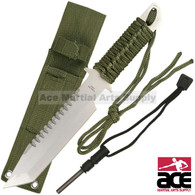 "Stainless steel blade. 11"" total length. Sawteeth on reverse side. Green corded handle. Full tang. Green carrying sheath. Includes a fire starting flint."