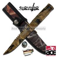"SURVIVOR 9"" CAMO SAWBACK SURVIVAL KNIFE"