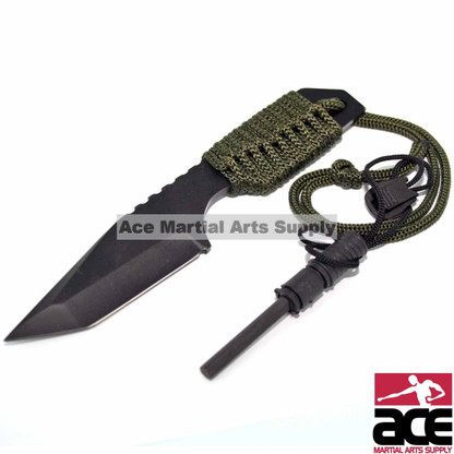 Black stainless steel blade w/ sawteeth on back. Corded grip along full tang blade . Under 1 lb, Includes a flint for easily starting campfires.
