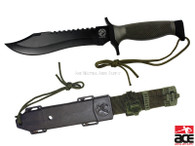 """Sharp 7"""" stainless steel blade complete w/ sawteeth along its backside. 5"""" textured for comfortable and strong grip.Hard plastic sheath w/ belt buckle for safe and convenient keeping. *Includes 2 knives w/ sheaths*"""