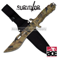 "SURVIVOR 10.5"" JUNGLE CAMO SAWBACK SURVIVAL KNIFE"