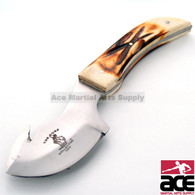 "7"" The Bone Collector Hunting Knife Real Genuine Burnt Bone Handle"