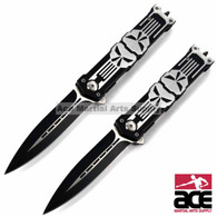 "TWO 8.25"" PUNISHER STILETTO SPRING ASSISTED KNIFE Folding Blade Pocket Switch"