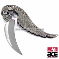 440 Stainless steel blade with wing and skull design. Sharp. Features a line-locking system that locks your blade when fully opened.
