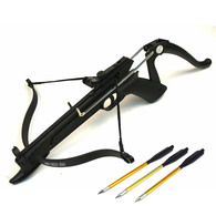 Self Cocking Draw Fiberglass Body Crossbow Pistol Set, 80-Pound