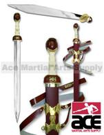 Roman Gladiator Movie Maximus Sword Scabbard Medieval Gladius Costume New Blade (Gold)