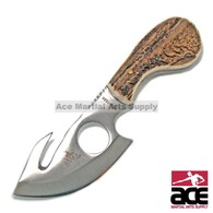 "7"" STAG FIXED BLADE GUT HOOK SKINNING KNIFE Hunting Bowie Fish Skinner"