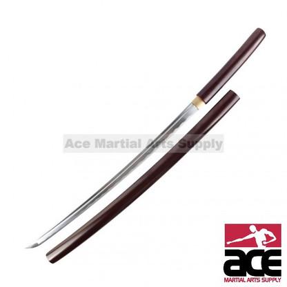 "Handmade Shirasaya. 40"" in length. Sharp carbon steel blade. Matching wood scabbard and handle w/ dark rosewood finish."