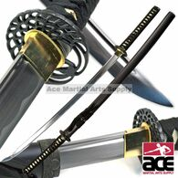 "40"" in length. Handmade ""Crane"" themed katana. Slightly sharpened blade. Black steel guard w/ crane design. Wood  core w/ ray skin."