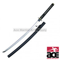 "40.5"" in total length. Carbon steel blade. Full tang blade. Wood scabbard with a dull black gloss finish. Handle features imitation ray skin w/ decorative dragon design guard."