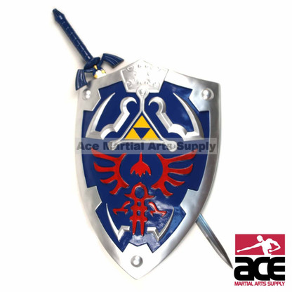 "Replica Master Sword and Adult-Size Hylian Shield combo. Includes Link's 36"" stainless steel Master Sword and fiberglass resin and rubber constructed Hylian shield (25"" x 19"")."