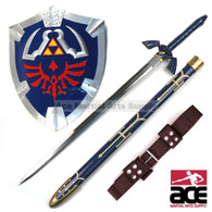 "Replica Master Sword w/ belt and Hylian Shield combo. Includes Link's 36"" stainless steel Master Sword, fiberglass and rubber constructed Hylian shield (20"" x 17""), and genuine leather belt (51"") custom fit to hold your Master Sword."