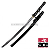 "Features strong aluminum alloy blade. Wooden core handle w/ imitation ray skin. Black cord wrap. Copper alloy guard w/ dragon and cloud theme. 39.25"" Total length."