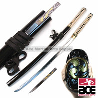"""Handmade. High quality carbon steel blade. Aesthetic hamon and bo-hi. Wood core handle w/ imitation black ray skin and white cord. Wood scabbard with black glossy finish. Includes mini tanto knife. 39.5"""""""