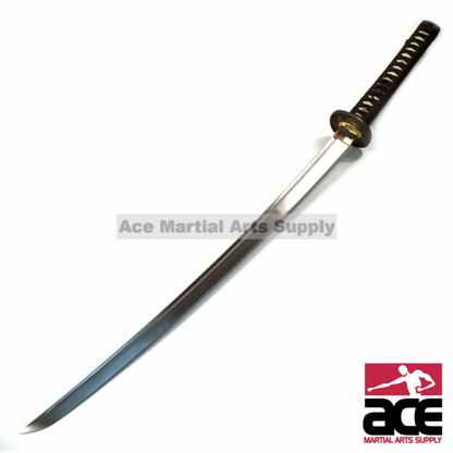 "Full tang Tomoe Katana, Polished carbon steel . Sharpened . Imitation ray skin handle and black cotton cord. 38.5"" in length."