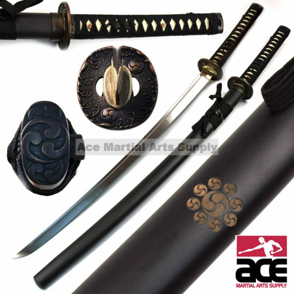 "Full tang Tomoe Katana, Polished carbon steel . Sharpened . Imitation ray skin handle and black cotton cord. 38.5"" in length."