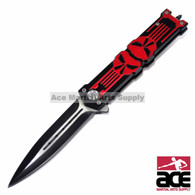 "8.25"" PROTEK PUNISHER STILETTO SPRING ASSISTED KNIFE Folding Blade Pocket Switch, Red"